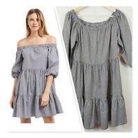 [ SEED HERITAGE ] Womens Gingham Off Shoulder Dress  | Size AU 10 or US 6