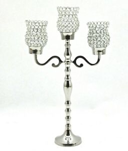 Candelabra Polished Silver Crystal Shades 3 Arm 65cm H Wedding Table Dining 1145