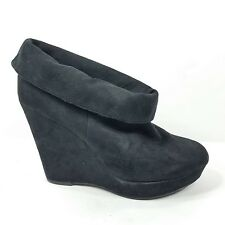 Kelsi Dagger Booties Faux Suede Wedge Black Slip On Size 9.5