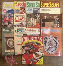 Mixed Cross Stitch & Crafts Magazines Lot of 13 - Crochet, Scraps, Needlework