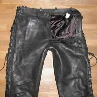 """ Schuh "" Men's Lace-Up Leather Jeans Biker Trousers IN Black Approx. W35 "" /"