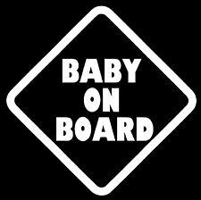 "BABY ON BOARD Vinyl Decal Sticker Car Window Wall Bumper Babies Warning 6"" White"
