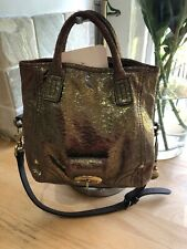 Mulberry Jody Bag In Gold Bronze Metallic Crackle Leather Detachable Strap