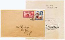 FIJI 1946 POSTMASTER SIGNED LETTER re RABI CANCEL to JACKSON NZ 1d + 1 1/2d KG6
