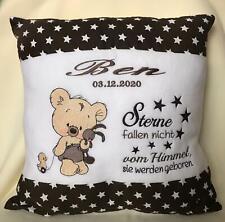 Kissen oder Babydecke zur Geburt oder Taufe, mit Namen + Teddy versch. Farben