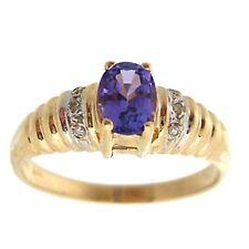 14 Quilates Oro Amarillo 0.50 Ovalado Azul Tanzanita & Pavé de Diamante Detalle