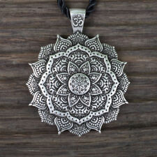 Necklace OM Mandala Pendant Silver Buddha Tibetan Healing Lotus Flower Buddhist
