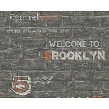 NEW AS CREATION BRICK WALL PATTERN BROOKLYN SILVER TYPOGRAPHY WALLPAPER 959091