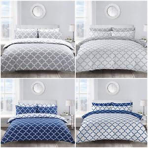 Lattice Moroccan Geometric Pattern Duvet Cover & Pillowcase Set Grey Navy