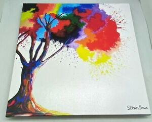 "Steven Brown 'Tree of Aura' Multicoloured Print on Canvas.Medium 16"" Square. Epp"