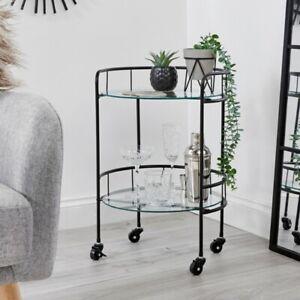 2 Tier Drinks Trolley Black With Glass Shelves Mini Bar Indoor Outdoor Garden 🍸