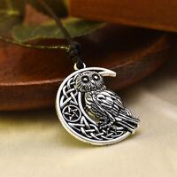 Goddess Crescent Moon Pendant Owl Necklace Wicca Pentagram Pagan Amulet Gift