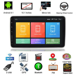 2Din 10.1in Android 9.1 Car Stereo Radio Bluetooth GPS Navi WiFi FM MP5 Player