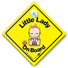 Little Lady On Board Car Sign Baby On Board Sign Suction Cup Baby Sign