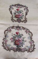 2 PC Pre-Worked Needlepoint Canvas MAUVES ROSES CHAIR SEAT & BACK