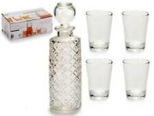 Set Bottiglia In Vetro Incisa + 4 Bicchieri Bicchierini Chupito Liquore idea