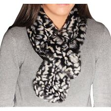 Ladies Luxurious Feel Black and White Leopard Print Faux Fur Stole/Scarf