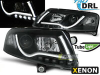 Coppia di Fari Anteriori LED DRL Inside LTI Light Tube AUDI A6 4F C6 Xenon Neri