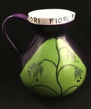 FIORI RAYMOR ITALY ART POTTERY PITCHER MID-CENTURY MODERN FLOWERS PURPLE & GREEN