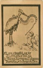 Artist impression Stork Baby Birth Congratulations postcard 12438