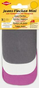 KLEIBER TRIPLE MINI IRON ON DENIM JEAN REPAIR PATCHES -Purple Black White 3 PAIR