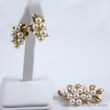 MING'S HAWAII PEARL CLUSTER 14K YELLOW GOLD LEAF BROOCH & CLIP EARRINGS SET