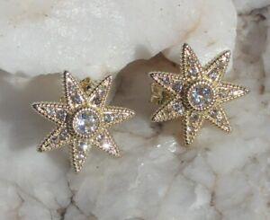 JUDITH RIPKA 14K Gold Clad WHITE TOPAZ STAR STUD EARRINGS NEW