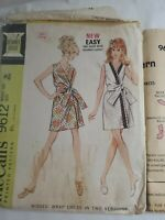 Vintage Pattern McCalls 9612 SZ10 bust 32 1/2  wrap dress  cut with all pieces