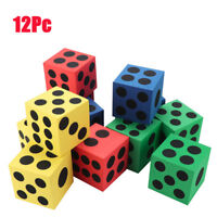 12PC 3.7CM Foam Dice Six Sided Spot Dice Kids Game Soft Learn Play Blocks Toy