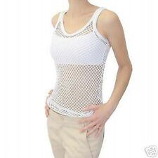 100% Cotton White String Vest Top - Size Small - BRAND NEW x 10 Vests