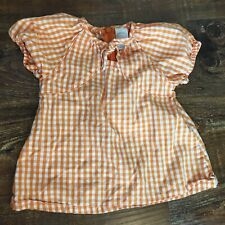 Starting Out Size 12 Months Orange White Plaid Check Gingham Shirt Top Blouse