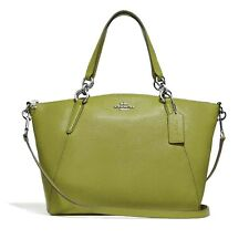 NEW COACH F31076 Kelsey Sm Satchel Leather Bag Handbag Cbody Yellow Green  Tags dd7d2c052459a