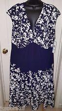 Jones New York NWT Woman's Plus Blue/White Floral Dress Size 20W