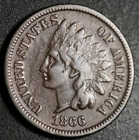 1866 INDIAN HEAD CENT - VF Details - With REPUNCHED DATE *SNOW-5* RPD
