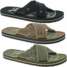 MENS DUNLOP TEXTILE FLIP FLOPS SANDALS SIZE UK 6 - 12 BLACK, BROWN OR KHAKI DMP9