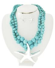 Three Strand Turquoise Lucite Bead Silver Tone Starfish Pendant Necklace Earring