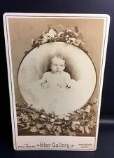 "Cabinet Card Vintage Photo Star Gallery Baby Flowers 4-1/4"" x 6-1/2"" Lot X-11"