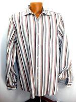 Tommy Bahama Mens Striped LS Button Front Shirt Flip Cuffs 100% Cotton Size L