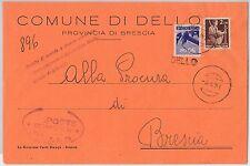 REPUBBLICA - Storia Postale: ANNULLO MUTO EMERGENZA su BUSTA da  DELLO 1951