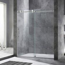 """WoodBridge Frameless Sliding Shower Door, 56"""" - 60"""" Width, 76"""" Height, Chrome"""