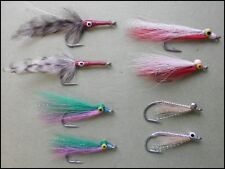 Saltwater Fishing Flies, 8 Pack Bass Flies, 4 Patters, Bass Fly Fishing. 2/0