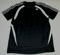 Mens Adidas Climacool 3 Gray Stripes Short Sleeve SS Shirt Medium Black Athletic
