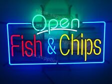 """New Fish and Chips Open Neon Sign 32""""x24"""" Business Shop Light Lamp Decor"""