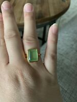 Green Amethyst Ring Size 6.75 Plated