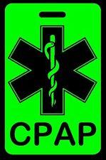 Hi-Viz Green CPAP Carry-On Bag Tag - CPAP BiPAP APNEA POC