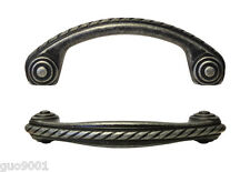 "New Antique Pewter Kitchen Cabinet Drawer Pulls Rope Design 3"" Pull 76MM"