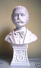 Statua Busto J. Strauss in polvere di Alabastro Bianco 15 cm