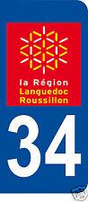 1 Sticker plaque immatriculation AUTO adhésif département 34