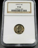 1970 S Roosevelt Dime Coin NGC PF68 Gem Proof 10c Combined Shipping Discounts