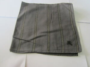 "USED DARK GRAY STRIPED PATTERN COTTON 18"" POCKET SQUARE HANDKERCHIEF FOR MEN #1"